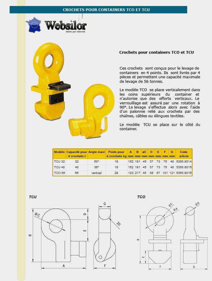 Informations techniques Crochets pour levage de containers - 32 à 40 tonnes