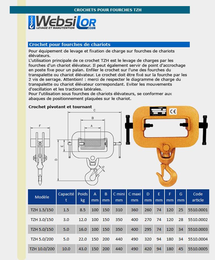 Informations techniques Crochet pour fourche - 1,5 à 10 tonnes