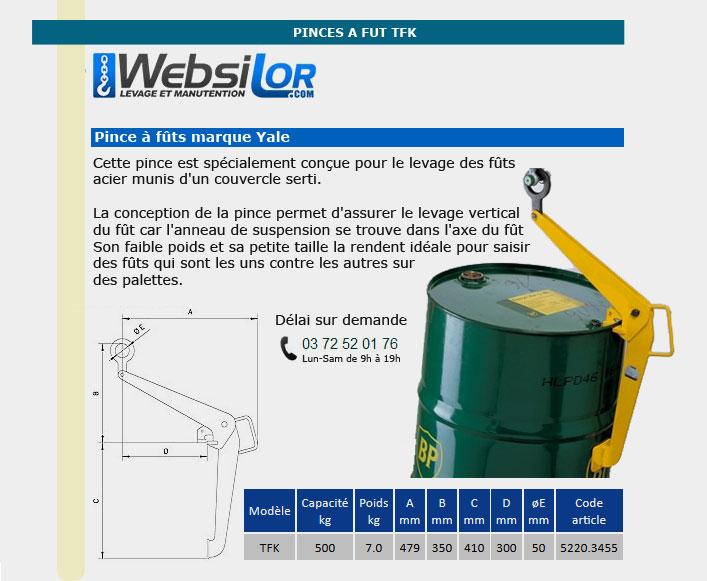Informations techniques Pince à fût - 500kg