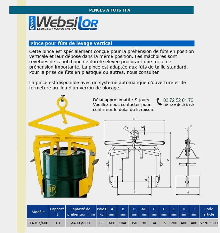 Informations techniques Pince à fût - 0,3 tonnes