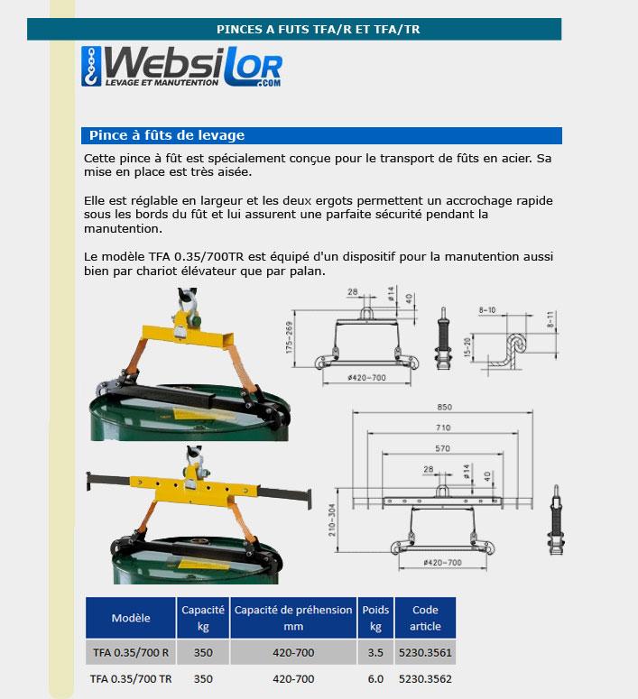 Informations techniques Pince à fût - 350 kg