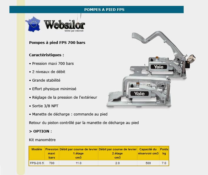 Informations techniques Pompe hydraulique à pied