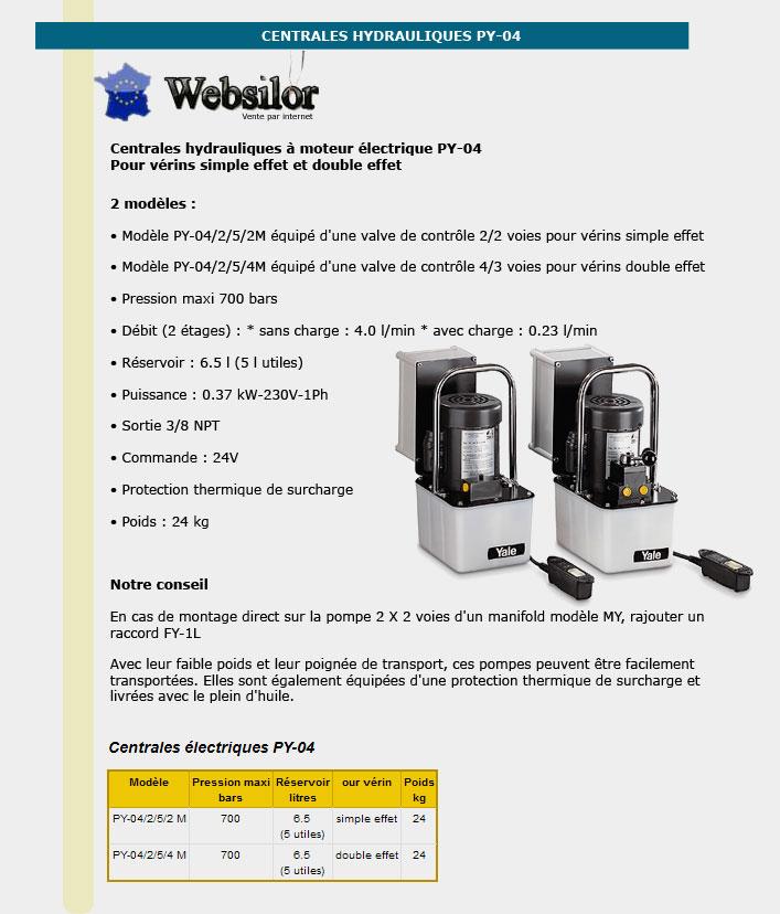 Informations techniques Centrale hydraulique pour verin double effet