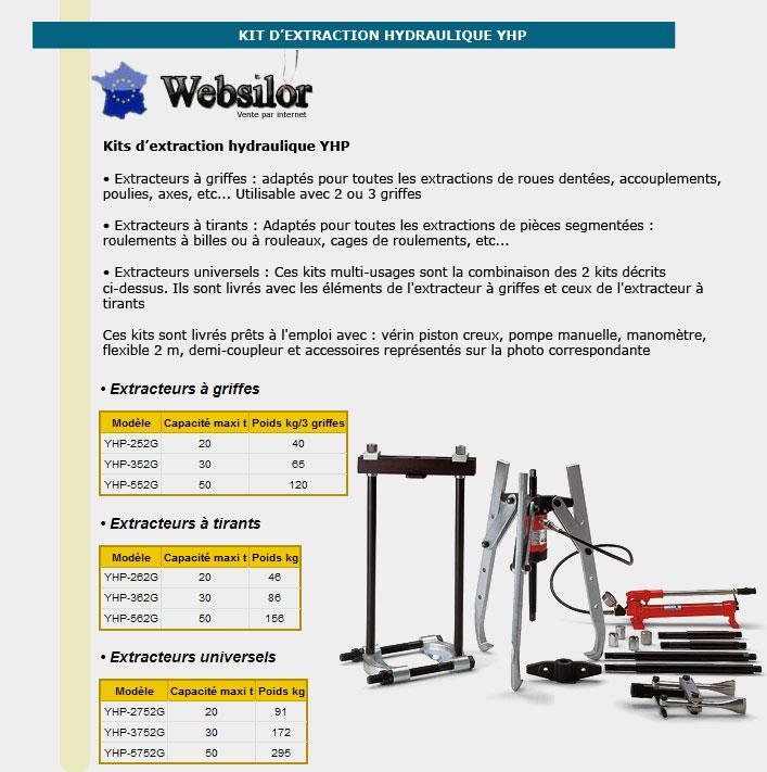 Informations techniques Kit d'extraction hydraulique - 20 tonnes