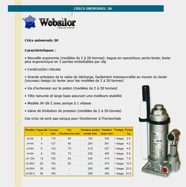 Informations techniques Cric universel - 2 à 30 tonnes