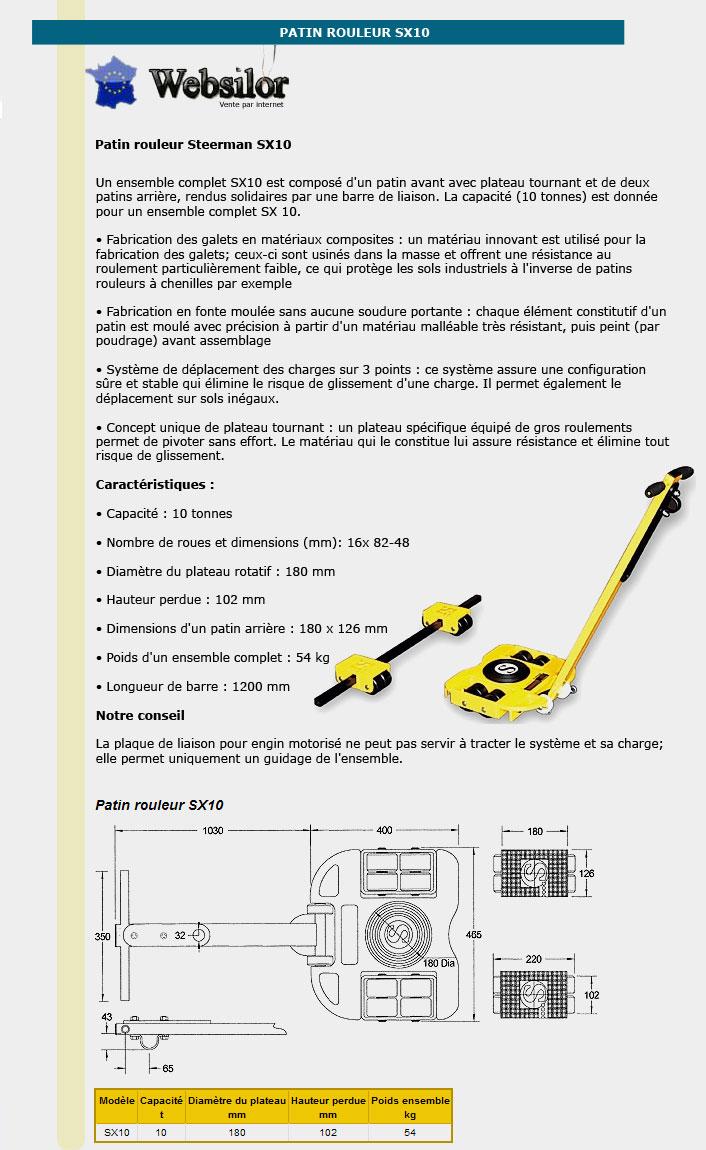 Informations techniques Patin rouleur - 10 tonnes