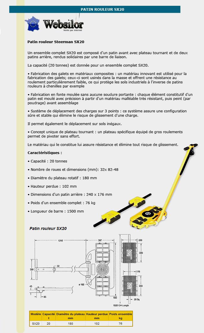 Informations techniques Patin rouleur - 20 tonnes