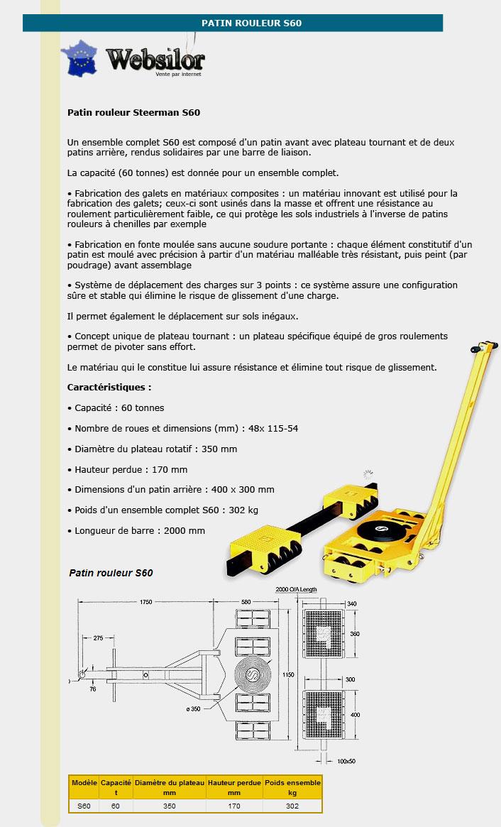 Informations techniques Patin rouleur - 60 tonnes