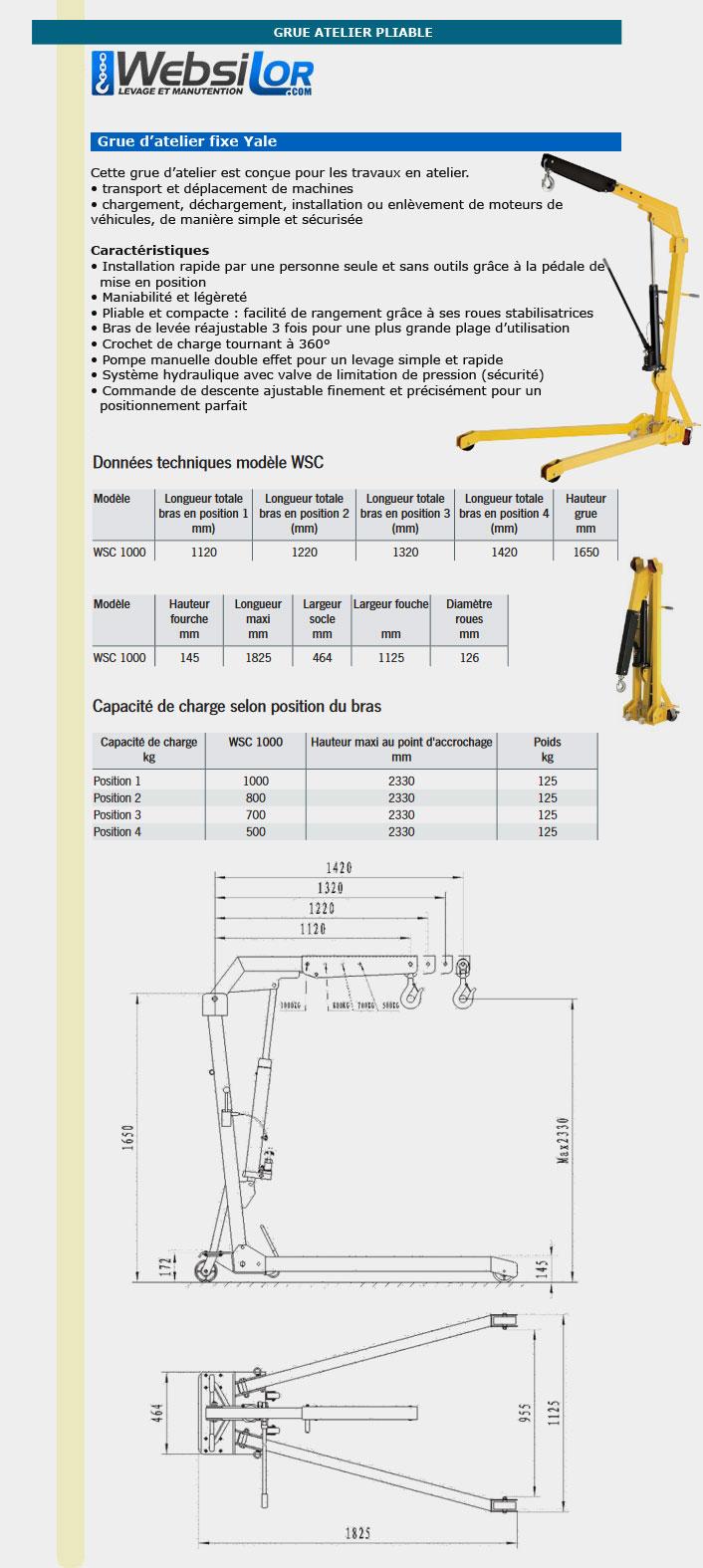 Informations techniques Grue d'atelier mobile repliable - 4 positions