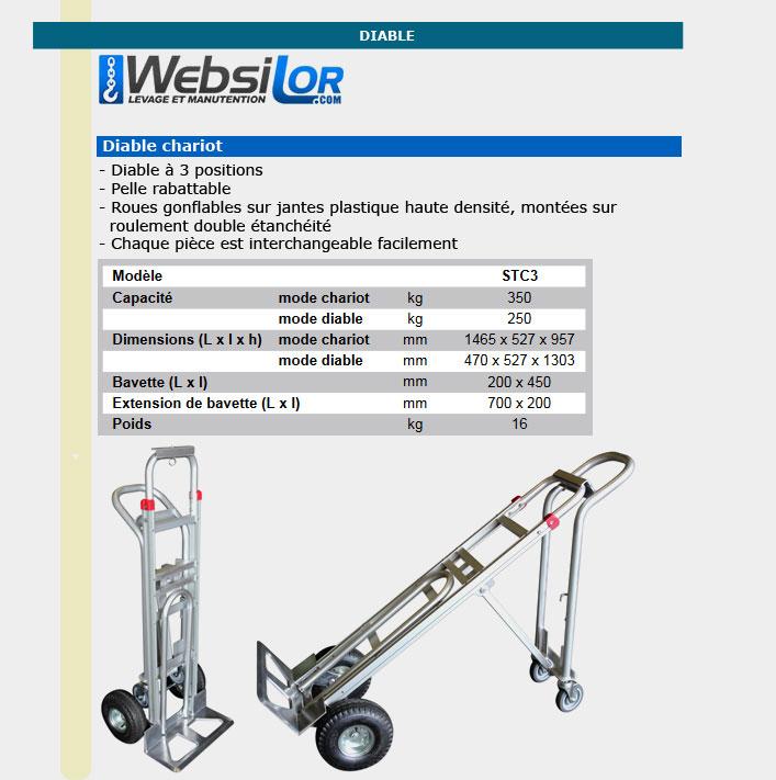 Informations technique de Diable chariot - 250 à 350kg