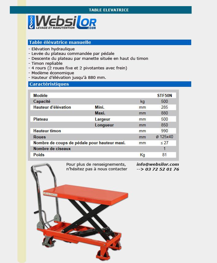 Informations techniques  Table elevatrice mobile économique - 500kg