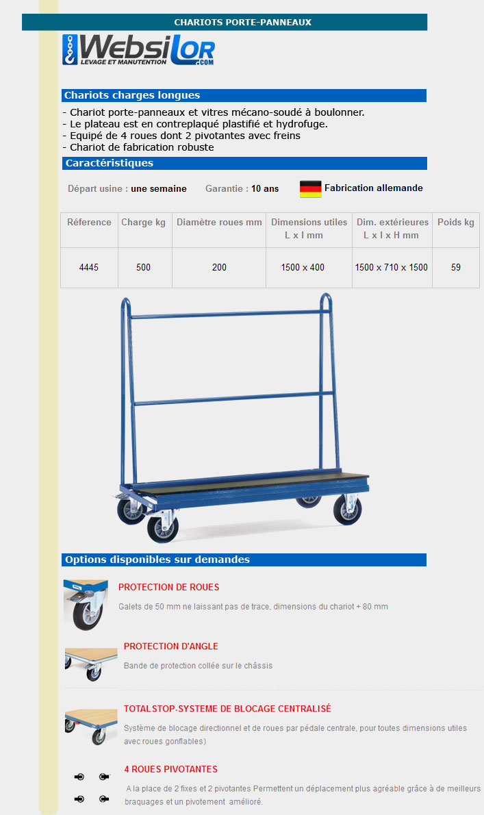 Informations techniques Chariot porte-panneaux - 500 kg