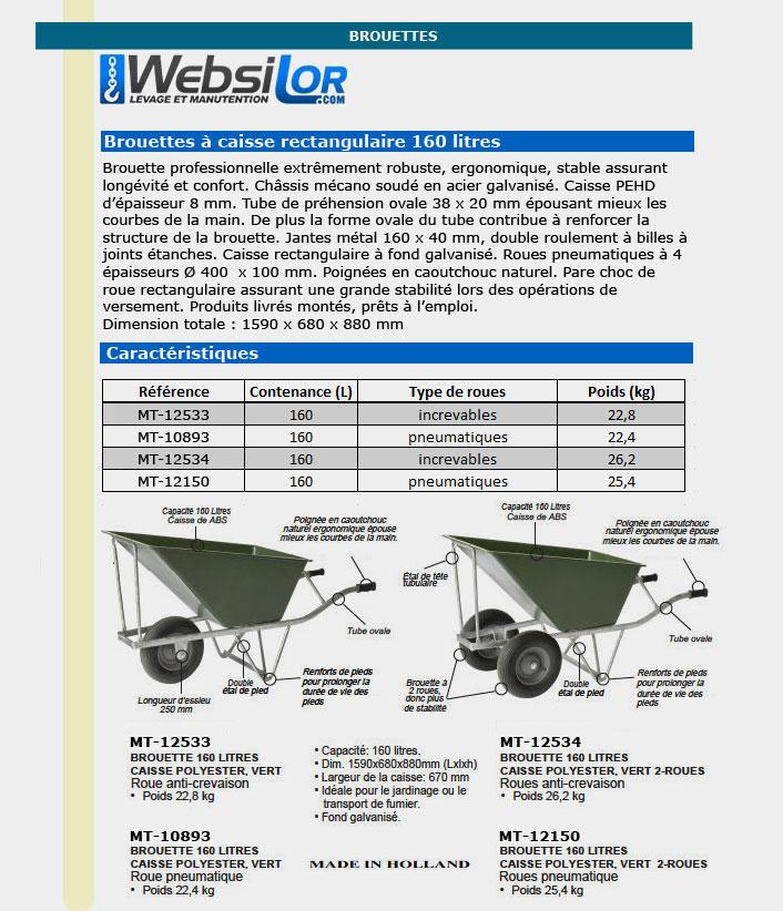 Informations techniques Brouette rectangulaire 2 roues - 160 litres