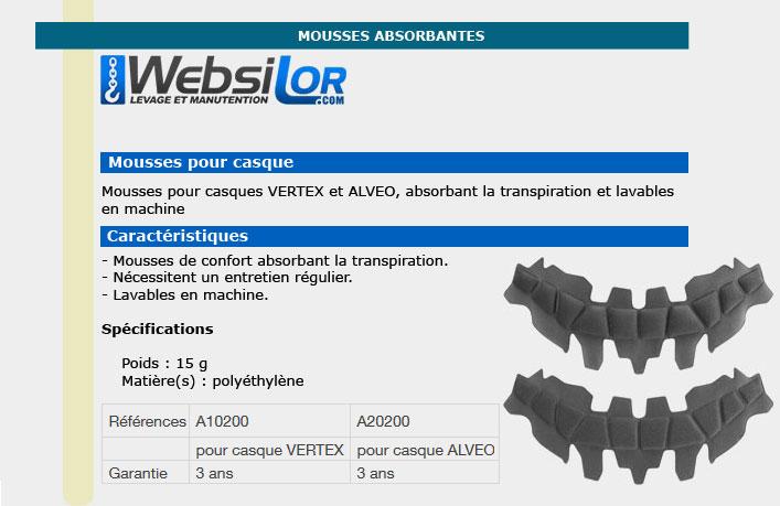 Informations techniques Mousse absorbante - casque vertex