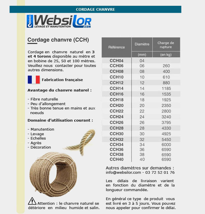 Informations technique de Corde en chanvre naturel