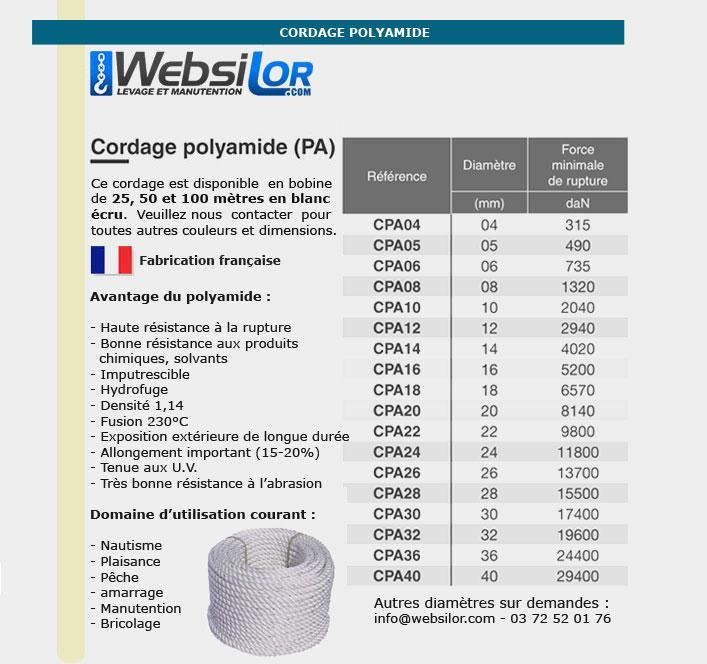 Informations techniques Cordage  en polyamide - 6mm