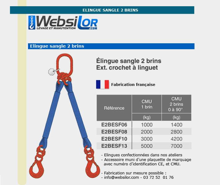 Informations techniques Elingue sangle 2 brins - 1400kg