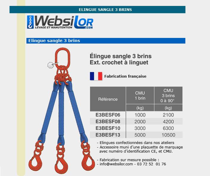 Informations techniques Elingue sangle 3 brins - 2100kg
