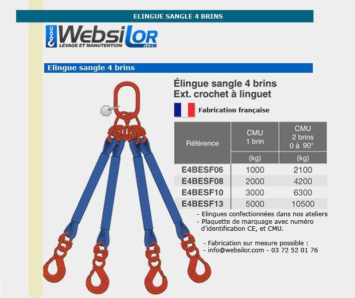 Informations techniques Elingue sangle 4 brins -  2100kg