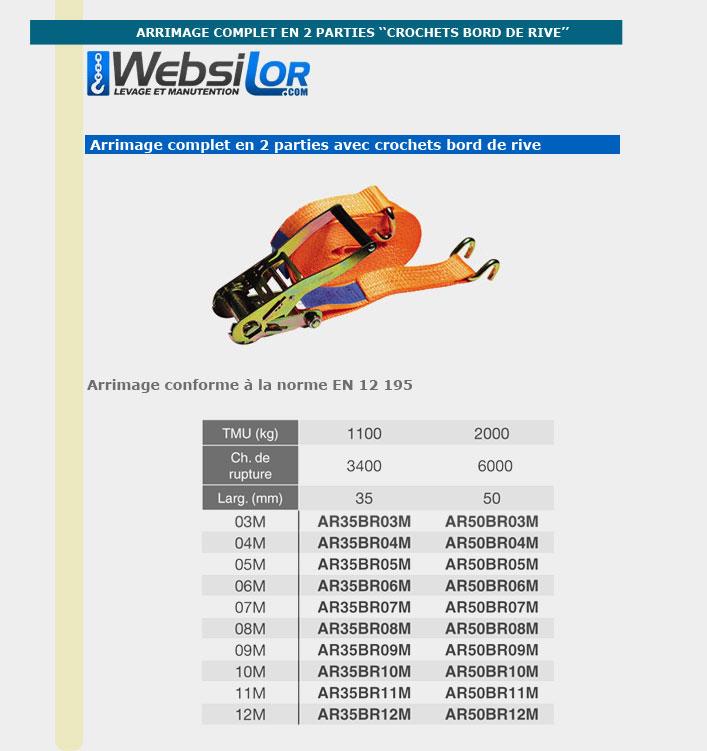 Informations techniques Arrimage sangle - 2000kg - 9 mètres