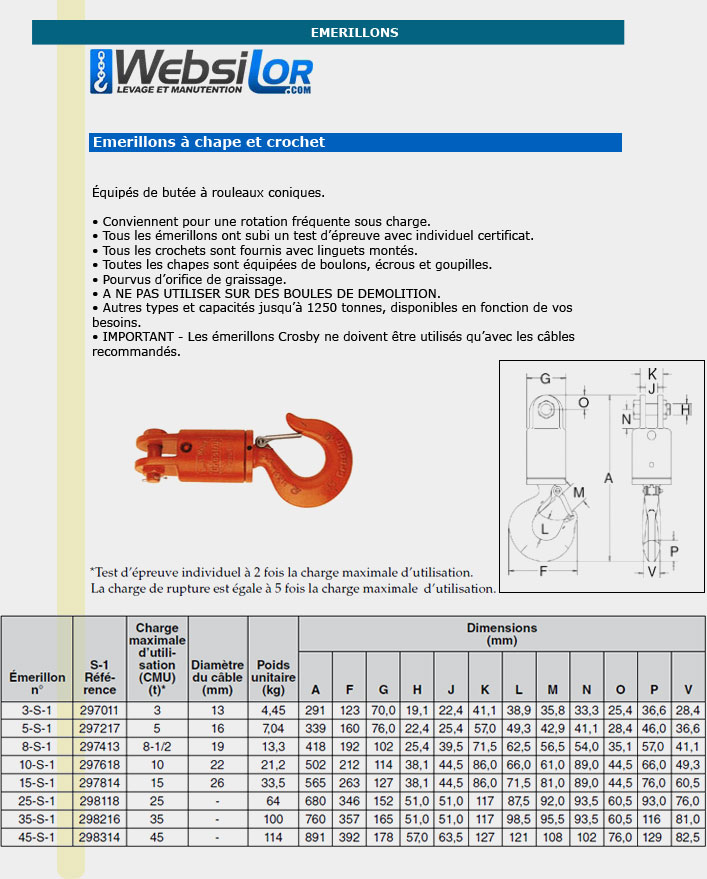 Informations techniques Emerillon chape et crochet - 3000 kg