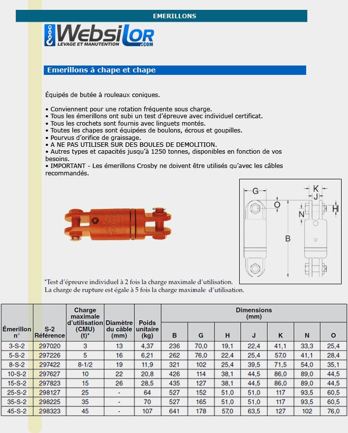 Informations techniques Emerillon chape et chape - 3000 kg