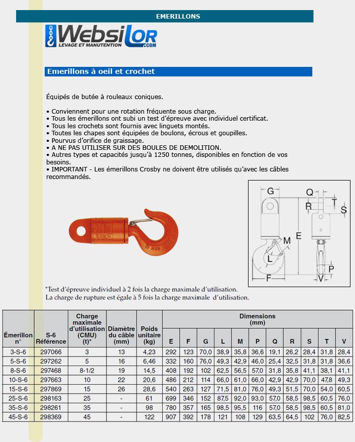 Informations techniques Emerillon oeil et crochet - 3000 kg