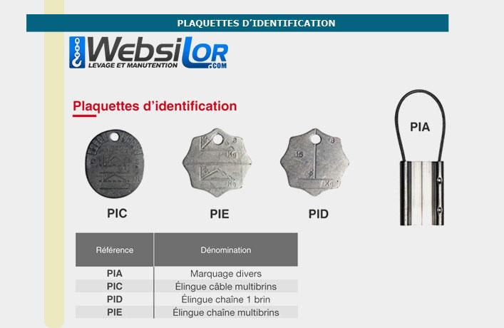 Informations techniques Plaquette de marquage - elingue câble