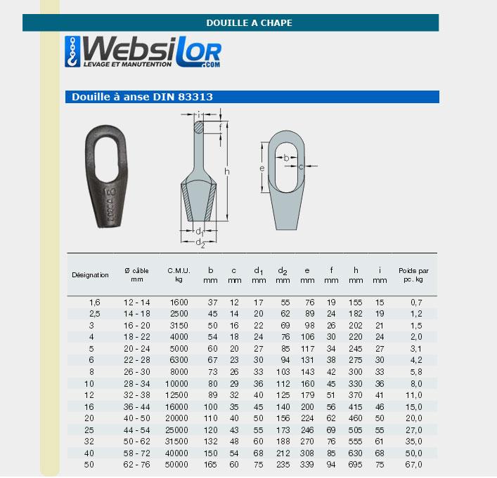 Informations technique de Douille à anse - 12500kg