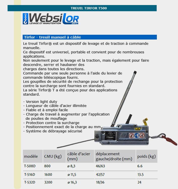 Informations techniques Treuil manuel tirfor T500 - 800 à 3200kg