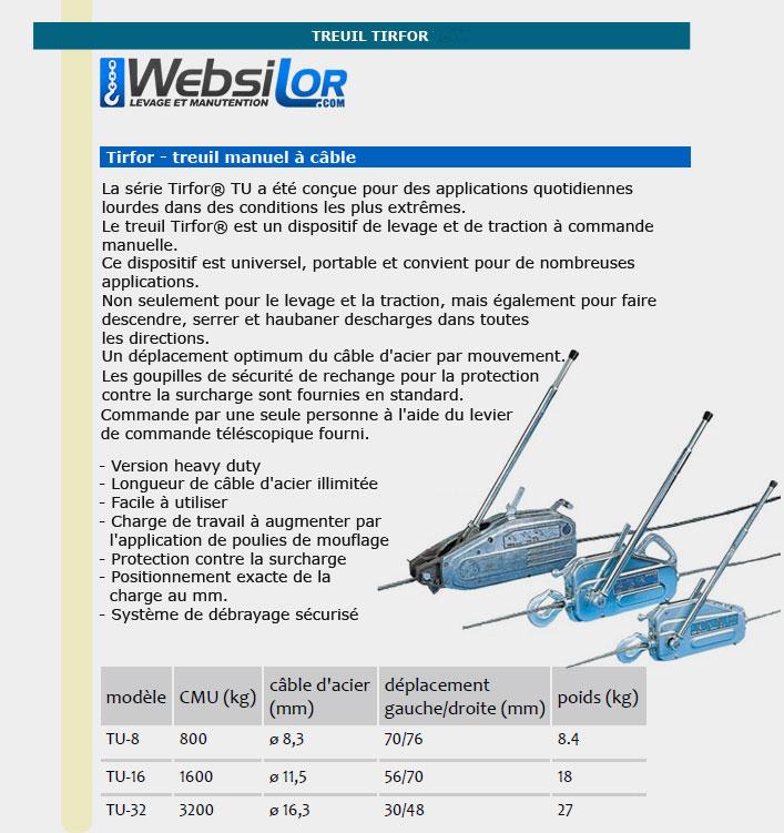 Informations techniques Treuil manuel tirfor TU - 800 à 3200kg