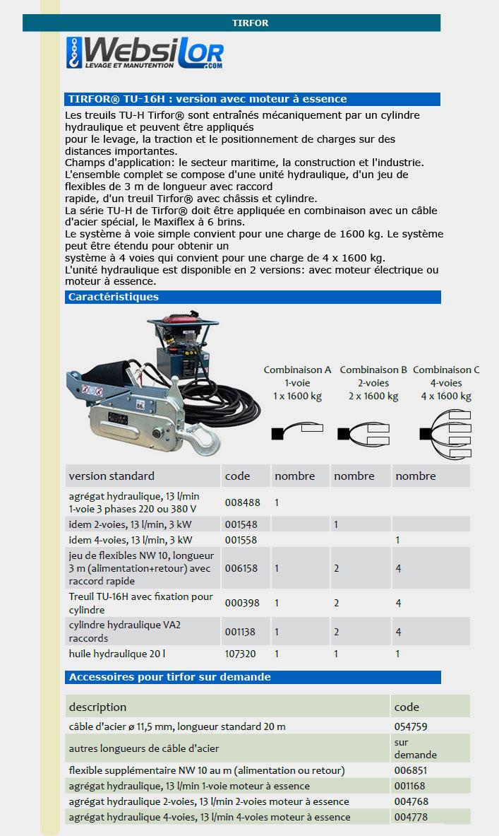 Informations techniques Tirfor hydraulique 1.6 tonnes