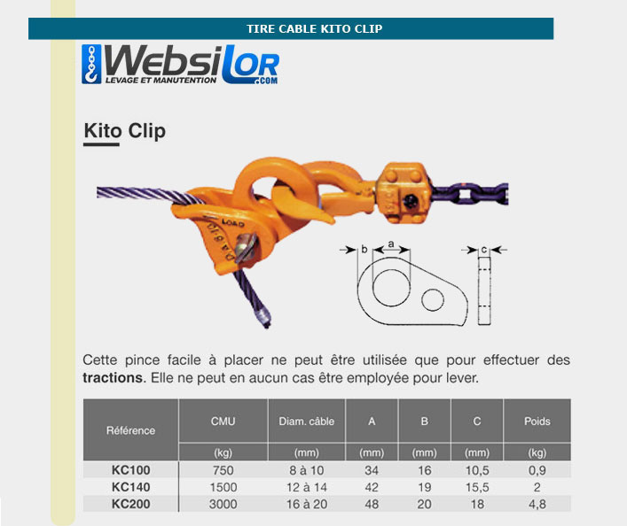 Informations techniques Tire câble kito - 750 kg