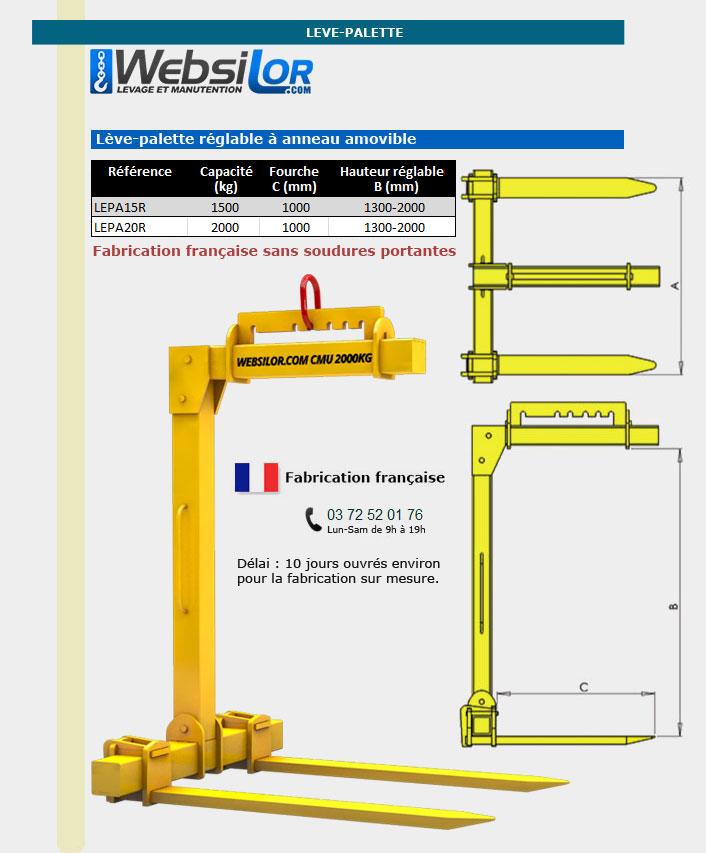 Informations techniques Lève-palette réglable en hauteur