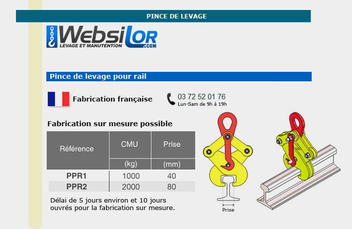 Informations techniques Pince pour rails - 1000kg