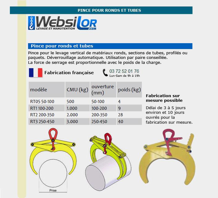 Informations techniques Pince pour ronds et tubes - 0.5 à 3 tonnes