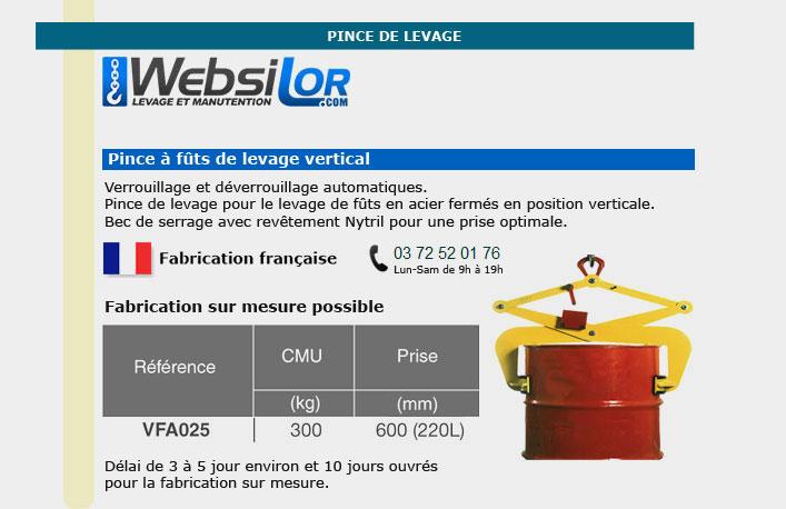 Informations techniques Pince à fûts - 300kg