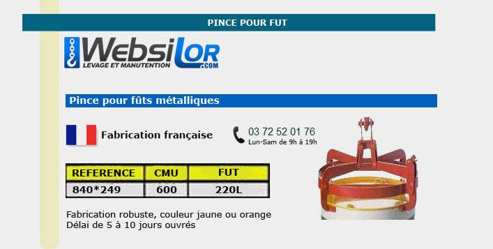 Informations techniques Pince à fûts - 600kg