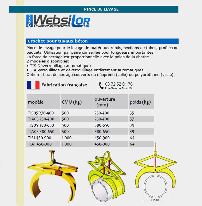 Informations techniques Pince pour tuyaux beton - 500 à 1000kg