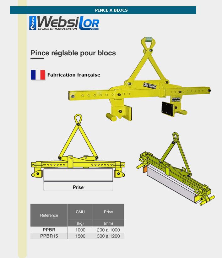Informations techniques Pince réglable pour blocs - 1000kg