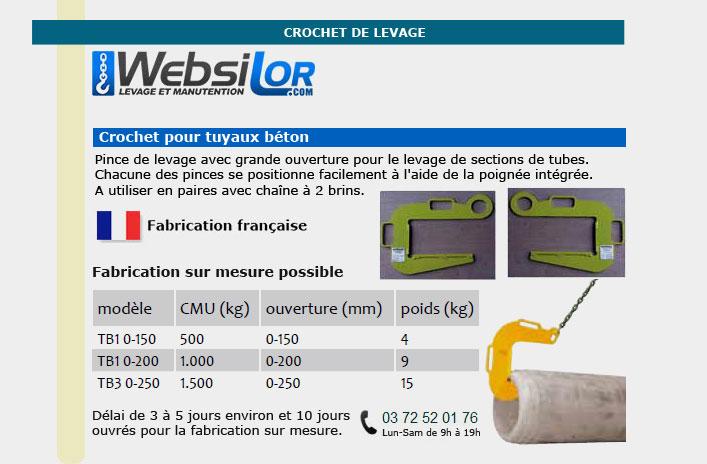 Informations techniques Crochet pour tuyaux beton - 500 à 1500kg