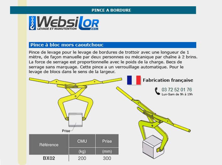 Informations technique de Pince pour bordure de trottoir - 200kg - prise 300mm