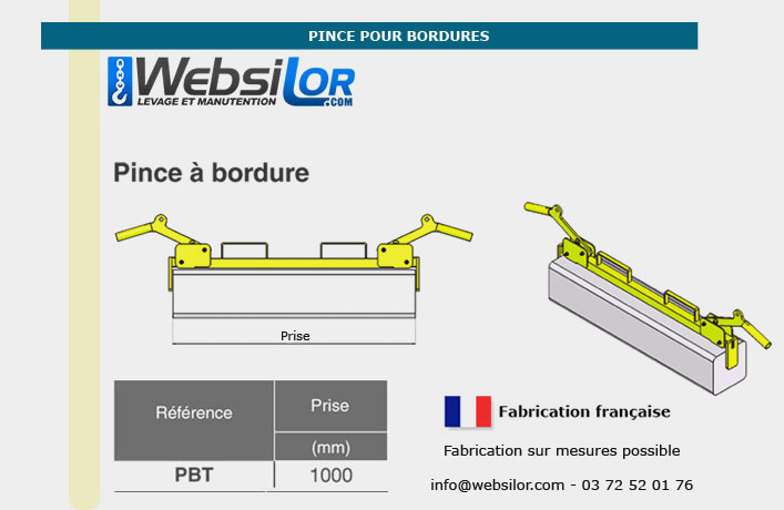 Informations techniques Pince pour bordures pour prise dans la longueur - 150kg - usage intensif