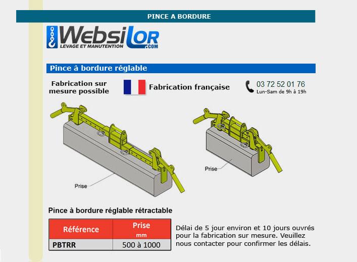 Informations techniques Pince à bordure réglable et rétractable pour prise dans la longueur - 150kg - usage intensif