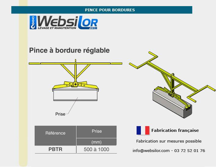 Informations techniques Pince pour bordures réglable pour prise dans la longueur - 150kg - usage intensif