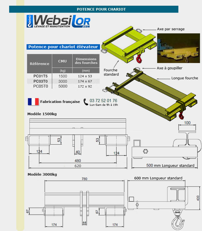 Informations techniques Potence pour chariot - 1500kg