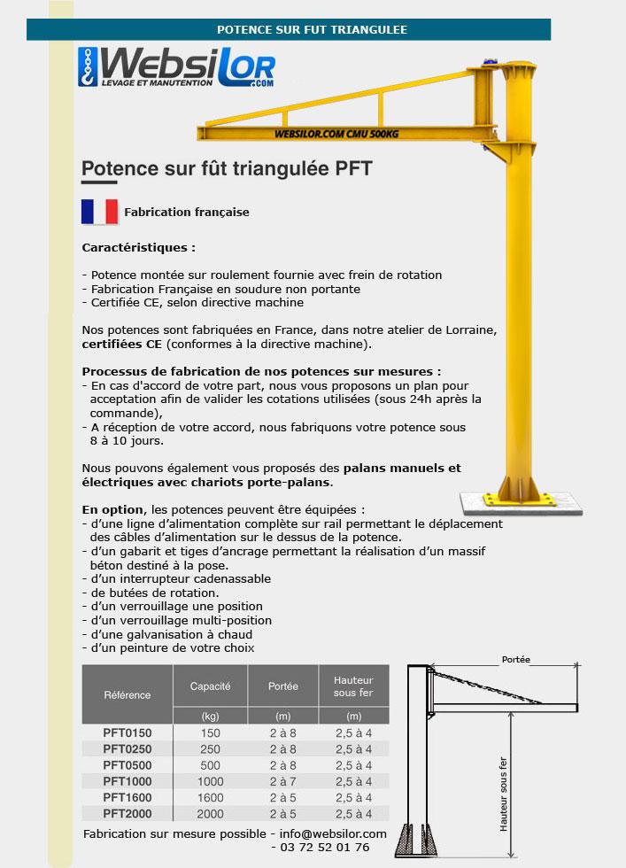 Informations techniques Potence sur fut triangulée - 150 à 2000kg
