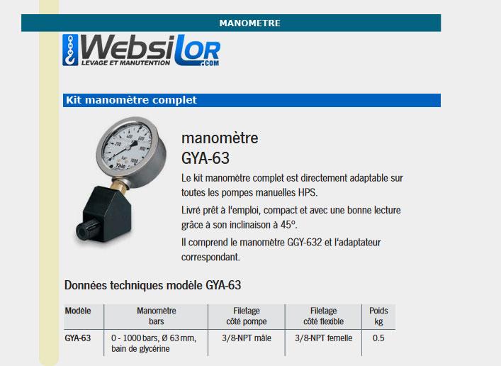Informations technique de Kit manomètre