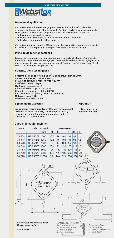 Informations technique de Capteur d'effort mécanique - 8000kg