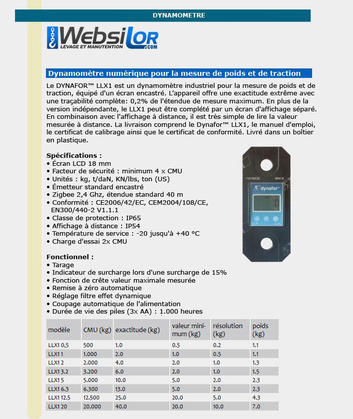 Informations techniques Dynamomètre électronique précis